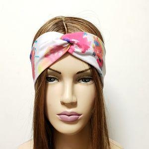 White Floral Print Turban Headband, Cute Headbands